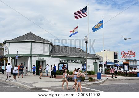 REHOBOTH BEACH, DELAWARE - JUL 1: Boardwalk at Rehoboth Beach in Delaware, as seen on July 1, 2017. It is a popular regional vacation destination.