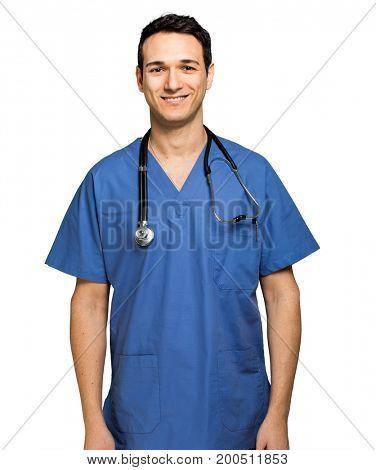 Male nurse isolated on white