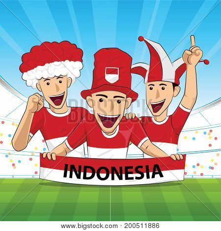 Indonesia Flag. Cheer football support Vector illustration.