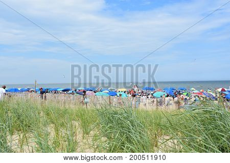 REHOBOTH BEACH, DELAWARE - JUL 1: Rehoboth Beach in Delaware, as seen on July 1, 2017. It is a popular regional vacation destination.