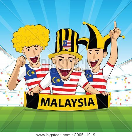 Malaysia Flag. Cheer football support Vector illustration.