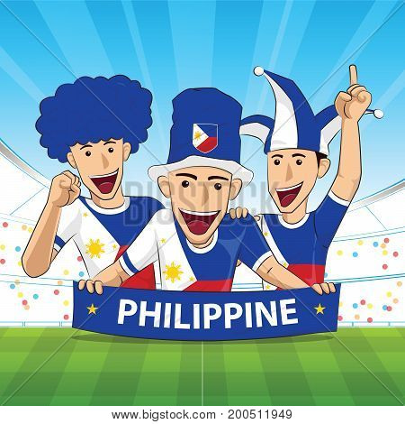 Philippine Flag. Cheer football support Vector illustration.