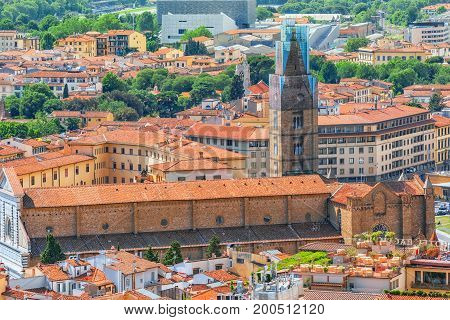 Beautiful Landscape Above Urban And Historical View Of The Florence From Giotto's Belltower. Basilic