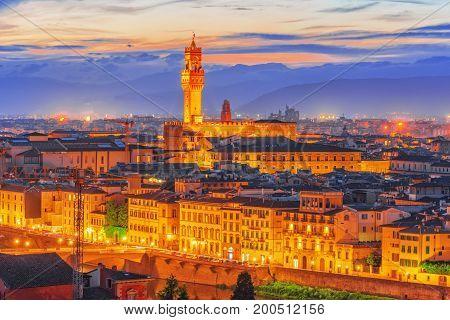 Palace Vecchio (palazzo Vecchio) In Piazza Della Signoria, Built In 1299-1314 ,one Of The Most Famou