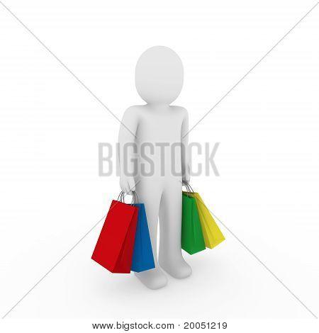 3D Man Sale Bag Shopping