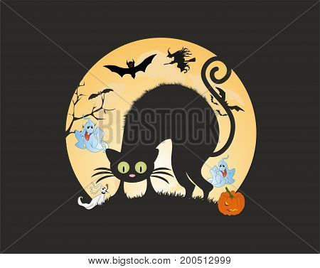 composition of scared cat and ghosts on halloween