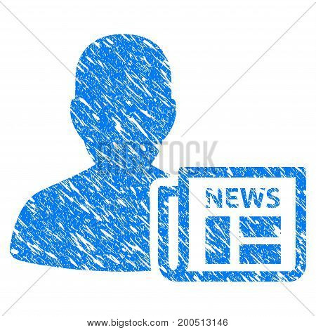Grunge Newsmaker Newspaper icon with grunge design and scratched texture. Unclean vector blue pictogram for rubber seal stamp imitations and watermarks. Draft sticker symbol.
