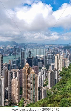 Hong Kong view from the top of Victoria Peak.