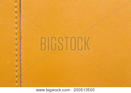 Closeup stitched leather brown color for background
