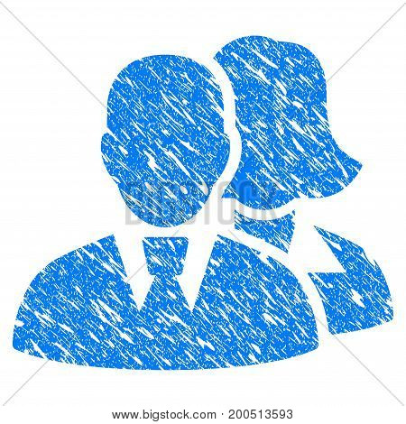 Grunge People icon with grunge design and dust texture. Unclean vector blue pictogram for rubber seal stamp imitations and watermarks. Draft emblem symbol.