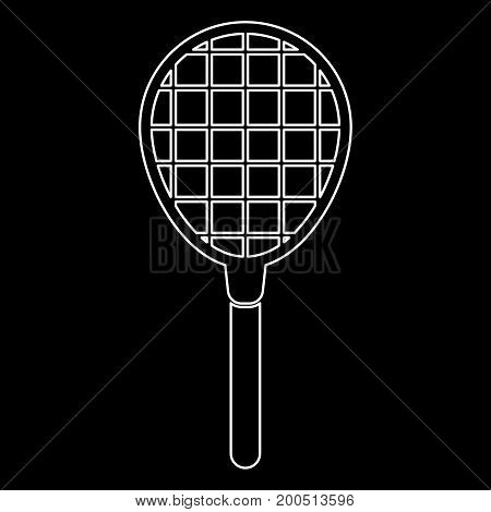 Tennis Racquet White Color Icon .
