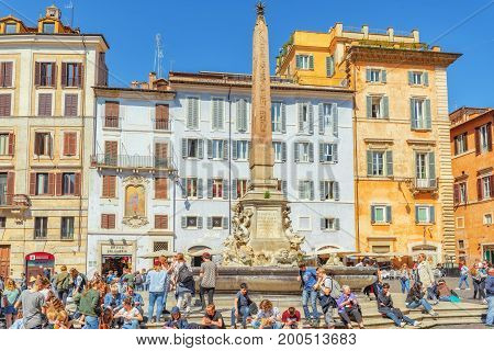 Rome, Italy - May 09, 2017 : Rotund Square (piazza Della Rotonda)  And Pantheon Fountain( Fontana De