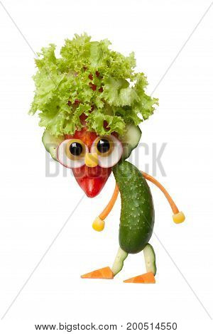 Gnome made of fresh vegetables on isolated background
