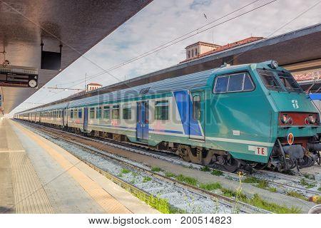Venice, Italy - May 13, 2017 : Modern High-speed Passenger Train Stand On Main Railways Station Veni