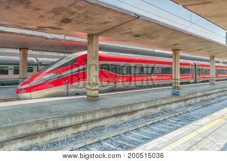 Florence, Italy - May 15, 2017 : Modern High-speed Passenger Train Stand On The Florence  Railways S