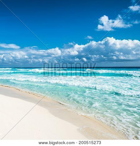 Caribbean beach panorama of Tulum Yucatan Mexico