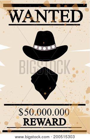 Vintage western wanted poster illustration art design