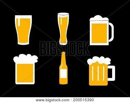 illustration of a glass of beer on black background