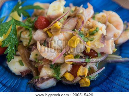 Delicious ceviche mixto mexican style mixed seafood ceviche