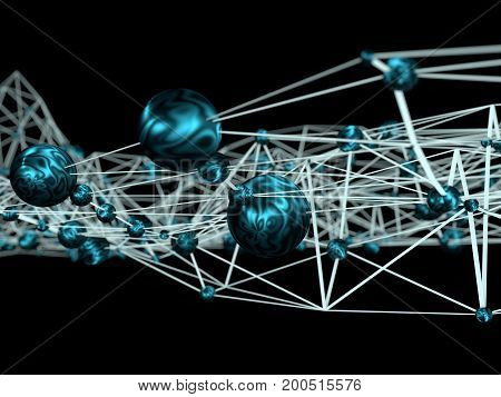 Molecule And Communication Background. Brochure or web banner design. Lines and metallic spheres. Concept of medical, technology, science and internet network. Shallow depth of field. 3D rendering.