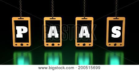 PaaS - platform as a service, word illustration for business concept. Design in modern style with related icons concept for ui, ux, web, app banner design. Phones hanging from a chain. 3D rendering.