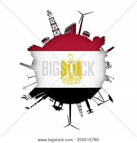 Circle with industry relative silhouettes. Objects located around the circle. Industrial design background. Flag of Egypt in the center. 3D rendering.