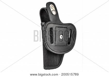 Molded leather holster without handgun. Isolated background, close up