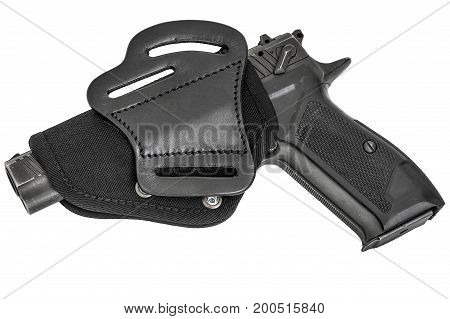 Leather holster with handgun. Isolated white background