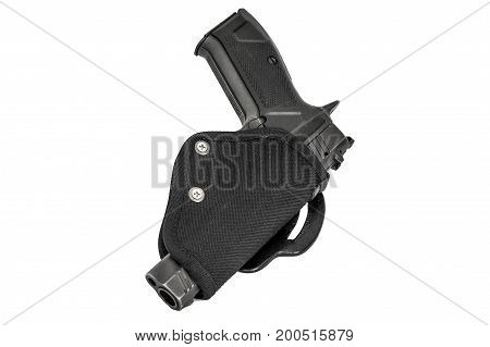 Handgun In The Nylon Holster. Isolated