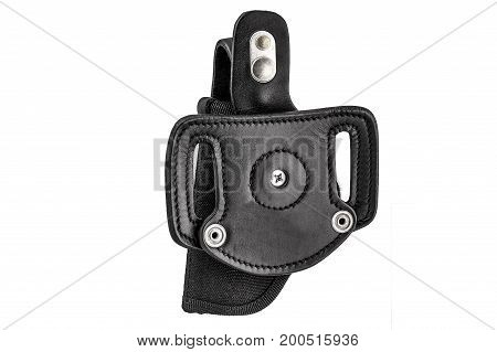 Molded leather holster without handgun. Isolated background