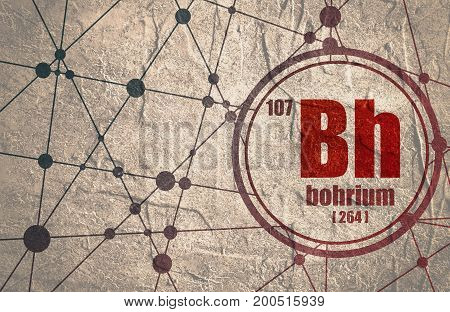 Bohrium chemical element. Sign with atomic number and atomic weight. Chemical element of periodic table. Molecule And Communication Background. Connected lines with dots. Distress grunge texture
