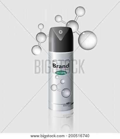 Packaging antiperspirant deodorant dry spray hair spray deodorant...Realistic packaging mockup template...Vector realistic file.