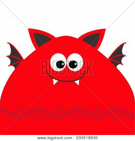 Funny monster head with fang tooth and wings. Cute cartoon character. Red color. Baby collection. Isolated. Happy Halloween card. Flat design. Vector illustration