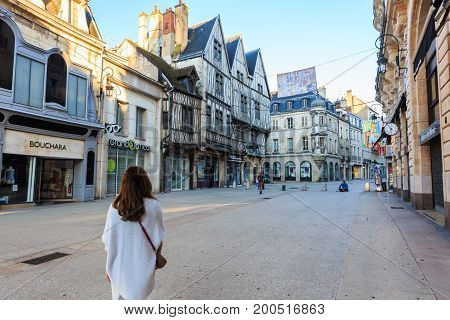 Dijon France - May 29 2017: Dijon city in Burgundy France. Dijon is a city in eastern France capital of the Burgundy region.
