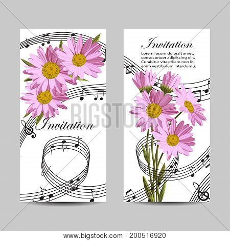Set of vertical banners. Beautiful daisies and music notes on white background. Vector illustration.