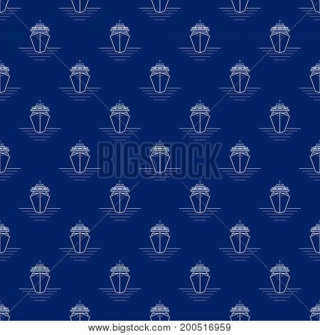 Seamless Travel Pattern with Cruise Ship, Maritime Tourism Concept , Line Style Design, Vector Illustration