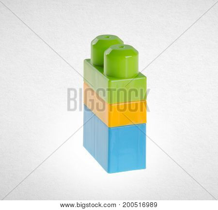 Building Blocks Or Plastic Building Blocks On Background.