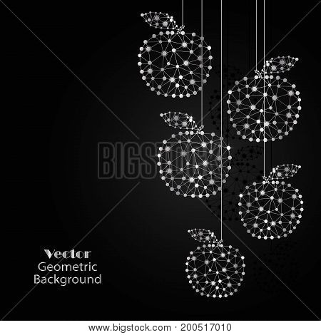 Silver vector apples made of connected lines and dots on black background.