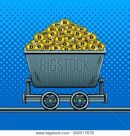 Bitcoin crypto currency money in miner trolley pop art style vector illustration. Comic book style imitation