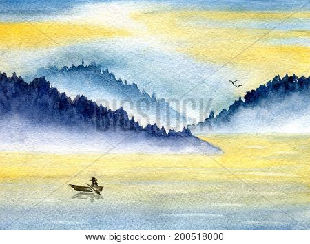 Seascape, mountains and sea, fishing boat and birds on the horizon. Hand-painted watercolor illustration and paper texture