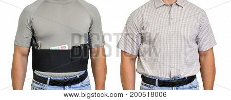 Torso Of A Man Dressed In Civilian Clothes, Underneath The Shirt There Is A Set For Concealed Carry