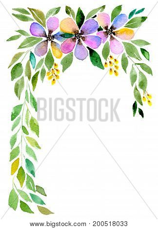Greetings card, three abstract flowers with leaves isolated on white background, hand-painted watercolor illustration and paper texture