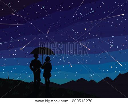 Starfall. Silhouette of couple under  umbrella, watching falling stars. The starry night sky. Meteor shower. Asteroids. Vector illustration in flat faceted style. Scene for your design.