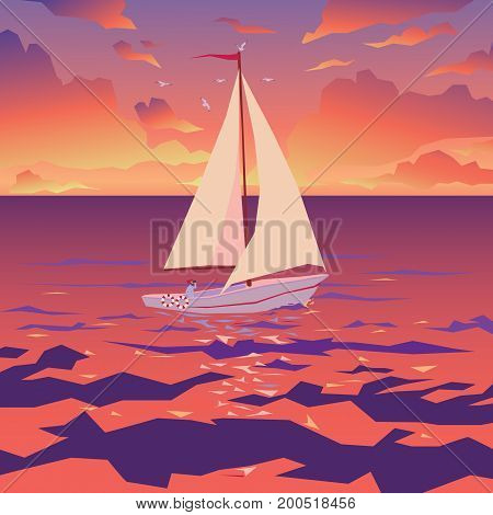 White boat with sail and red flag. Tropical ocean with calm waves and seagulls. Sunset sky with clouds. Vector illustration of seascape with sailboat in flat faceted style for design travel, articles and printing.