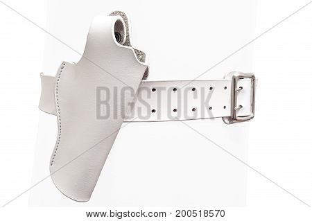 White leather two prong belt without a gun in a molded holster close up isolated