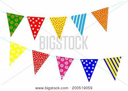 Celebrate decoration banner. Party festival triangle flags collection set on a white background. Carnival decorations.