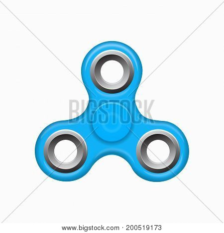Hand fidget blue spinner toy - stress and anxiety relief. Blue colorful spinner on a white background. Modern children's toy - blue spinner.
