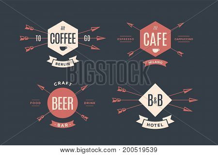 Set of emblem, label and design elements for hotel, cafe, pub and beer bar in vintage retro style. Logo, signs, labels, identity and badges for business brands. Vector Illustration