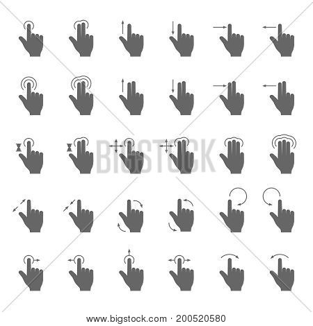Hand swipe and drag gesture vector icons with touching action arrows for touch screen device. Finger gesture action for use smart phone illustration