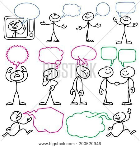 Vector sketch stick figures with blank dialog bubbles. Stick man figure and speech bubble communication illustration
